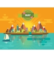 Spring landscape Small town vector image