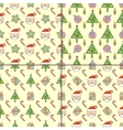 Set of Christmas seamless patterns vector image