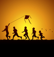 Kids flying a kite vector