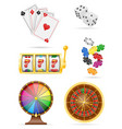 casino objects and equipment set icons stock vector image