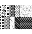 set of trendy various geometric seamless pattern vector image
