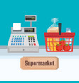 supermarket cash register with shopping basket vector image