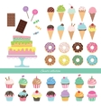 Birthday set with different sweets vector image