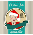 Christmas sale design with sexy Santa girl vector image