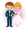 Couple newlyweds bride and groom vector image