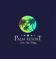 creative palm resort logodesign for tropical vector image