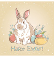 Easter bunny retro card with hand drawn flowers vector image