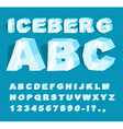 Iceberg font Ice alphabet Set of letters from cold vector image