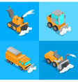 Isometric Snow Removal Transportation Set vector image