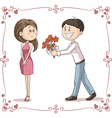 Man Brings Flowers to Shy Woman Cartoon vector image