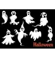 Night halloween ghosts set vector image