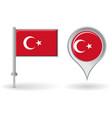 Turkish pin icon and map pointer flag vector image