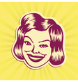 Vintage mid-century smiling woman face vector image