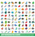 100 warehouse icons set isometric 3d style vector image