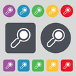 magnifying glass zoom icon sign A set of 12 vector image