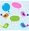 cute birds with speech bubbles vector image