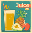 fresh fruit juice vintage card vector image vector image