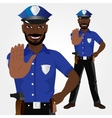 African american policeman showing stop gesture vector image