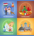 hungarian culture compositions set vector image