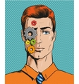 man with cogwheels on face vector image