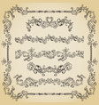 set of vintage swirls seamless borders and vector image
