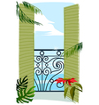balcony door to sea vector image vector image