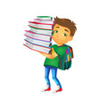 boy holding big pile of school books vector image