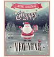 New Year Santa poster vector image vector image