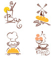 Set of pictures - cafes and bakeries vector image vector image