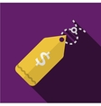 Yellow price tag flat icon vector image