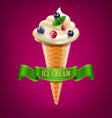 wafer cone with cream ice cream with berries vector image vector image