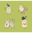 Funny bunnies on a green background vector image