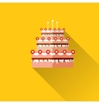 birthday cake flat icon with long shadoweps10 vector image