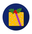 Christmas gift with holly berry icon in flat style vector image