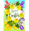 easter spring flowers cartoon poster design vector image