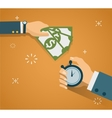 Hand with stopwatch and hand cash Payment methods vector image
