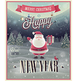 New Year Santa poster vector image