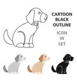 sitting dog icon in cartoon style for web vector image