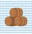 wooden barrels with beer vector image
