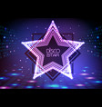neon sign disco star on night disco background vector image vector image