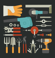 Hand tools icon set flat design vector image