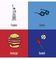American National Symbols Icons Set vector image