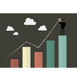 Businessman standing on bar graph drawing a growth vector image