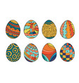 collection of colorful easter eggs in doodle style vector image