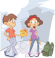 Cute Guy and Girl in Love Cartoon vector image