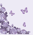 floral card template with violet roses and vector image