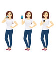 woman in jeans with the phone vector image