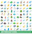 100 forecast icons set isometric 3d style vector image