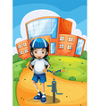 A female biker standing in front of a school vector image vector image