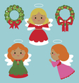 Cute angels characters vector image